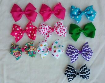 Hair bows- 4 inch Half Pinwheel Hairbows - Set of 3 -Large Hair Bows - Girls Hair Bows - Toddler Hairbows - Solid hairbows -pattern hairbows