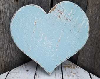 Blue Wooden Heart