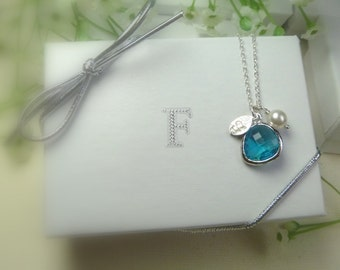 Bridesmaid Gift - Bridal Jewelry - Blue Zircon Necklace - Bridesmaid Jewelry - Leaf Initial - Personalized - Birthstone Necklace - Femmart