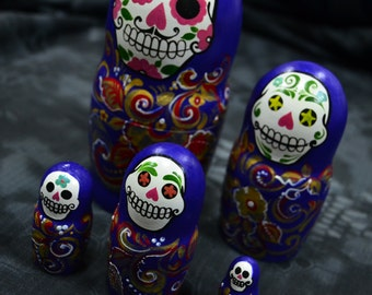 Matryoshka Day of Dead Babushka, Russian nesting dolls, Unique, skull, handmade