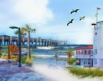 Surf Print, Livin' in the Sunshine, Jacksonville Beach, Lifeguard Station, Surfers, Beach Decor, Coastal Art, Pier, Jacksonville, Florida