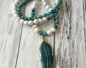 Sale!Long turquoise feather necklace, long beaded boho necklace, trendy feather beaded necklace,long bohemian necklace.Long feather necklace