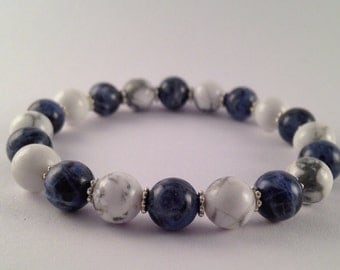 Sodalite Bracelet Howlite Bracelet Gemstone Jewellery Blue And White Beads Beaded Stack Elastic Bracelet Gemstone Stretch Bracelet