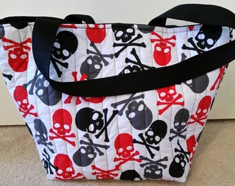 Skull and Crossbones Quilted Hold All Tote bag