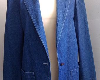 Large blue denim jacket size 42 thrift store