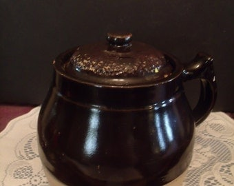 Vintage Small Crock, with Lid, Home Decor, (# 531/19)