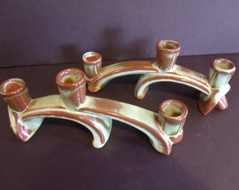 Frankoma - Woodland Moss - 2 Triple Candle Holders
