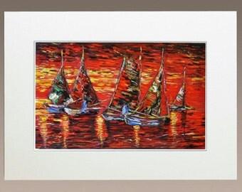 Original Oil Paining - Sailing Boats at Sunset