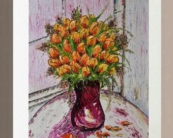 Original Oil Painting - Tulip in Vase