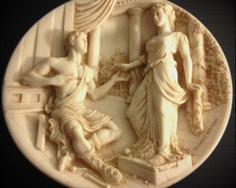 Ceramic Greek Style Plate Pygmalion and Galatea by Yiannis Koutsis 1989
