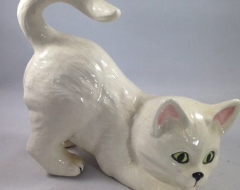 Adorable Vintage Pouncing White Cat With Green Eyes