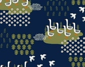 Ducks in Navy from the Gardening Collection by Dinara Mirtalipova for Windham Fabrics