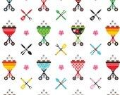"""Last Fat Quarter, Multi Bar-b-Que Cotton Fabric from the Quilt Camp Collection by Barbara Jones for Henry Glass Fabrics 18""""x22"""""""