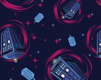 Flannel - Doctor Who Pink Tardis Swirl Flannel Fabric by Springs Creative