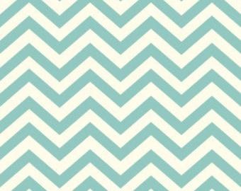 Birch Organic Cotton Fabric - Skinny Chevron Pool Blue
