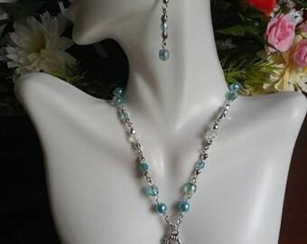 Aqua Necklace, Earring, Bracelet Set