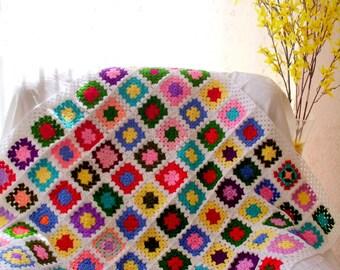 granny square afghan blanket,handmade blanket, crochet blanket, crochet quilt, multicolor blanket