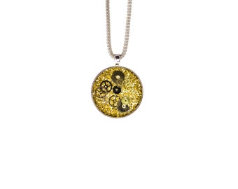 Steampunk Necklace, Gear Necklace, Silver Steampunk Necklace, Victorian Steampunk Necklace