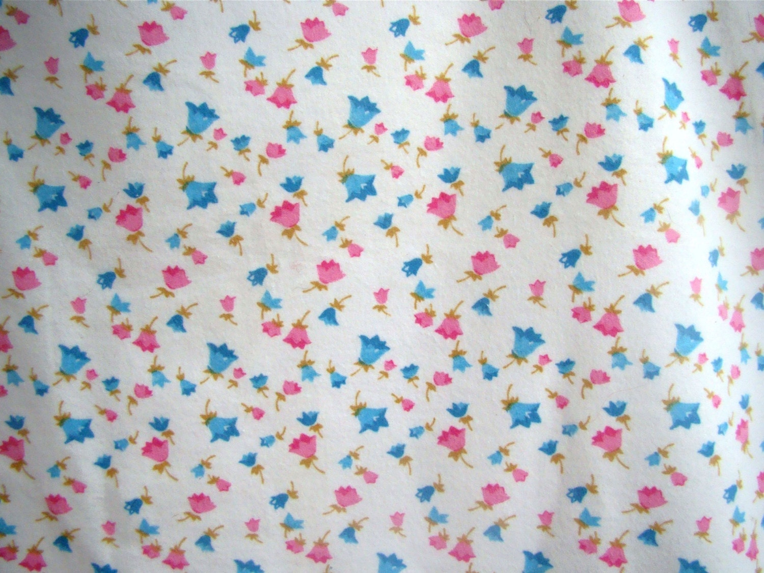 6 5 yards of vintage baby flannel fabric pink blue flower for Flannel fabric