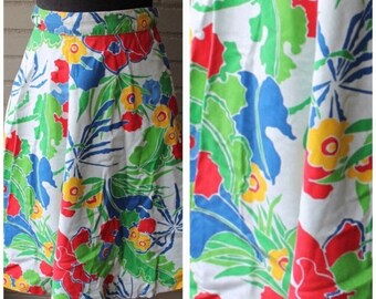 20% Off Entire Shop - Vintage 1970s Wrap Skirt Primary Colors - Floral Print - Size XS, S