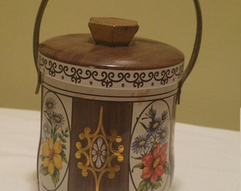Vintage Brown Tin Floral Design By Daher With Lid and Handle Made in England