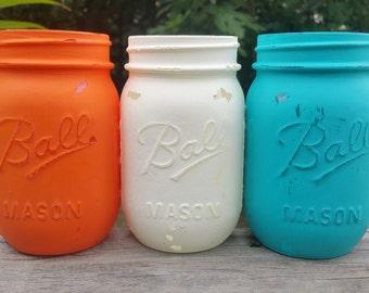 Orange and Blue, Orange and Teal, Mason Jars