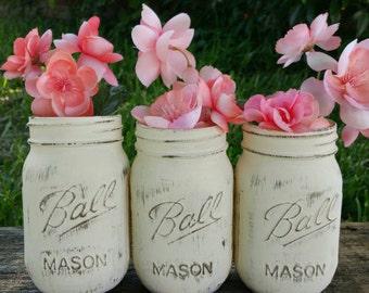Shabby Chic Mason Jars, Cream Mason Jars, Ivory, Off White, Distressed, Bronze