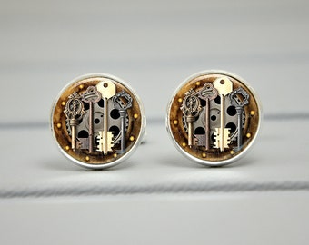 Steampunk Cufflinks, Wedding Anniversary, Father of the Bride, Watch Cufflinks, Men Accessories, Geeky Watch Jewelry, Cufflinks Men Women