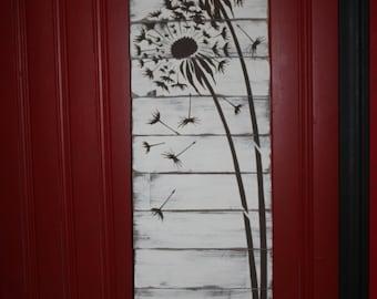 White Dandelion Pallet Sign Wooden Wall Decor/ Gift.