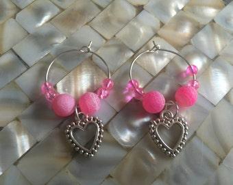 AllAboutEveGifts A pair handmade Heart & Bead Wine Glass Charms