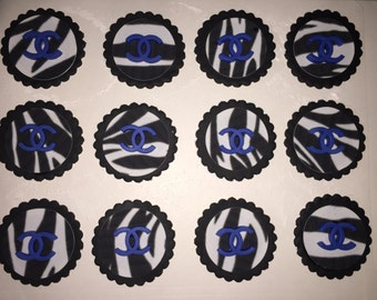 Edible Chanel inspired Zebra print Cupcake Toppers