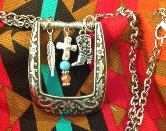 Western Vintage Belt Buckle Necklace Re-purposed