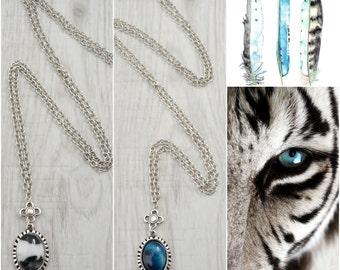 Silver Cabochon Semiprecious Gemstone Necklace, Delicate Contemporary Gemstone Cabochon Necklace Jewelry, Boho Bohemian Gypsy Silver Jewelry