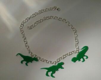 Velociraptor Dinosaur Acrylic Cut Necklace or Bracelet