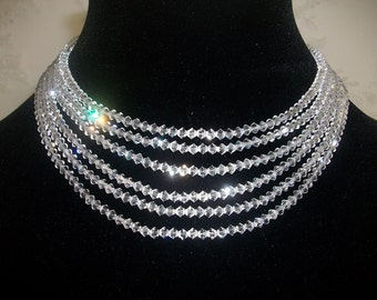 Bridal necklace Bridal Jewelry Wedding necklace Swarovski crystal necklace Clear crystal necklace Sterling silver ladies accessories