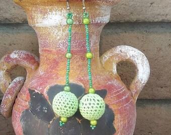Green Crochet Bead Earrings