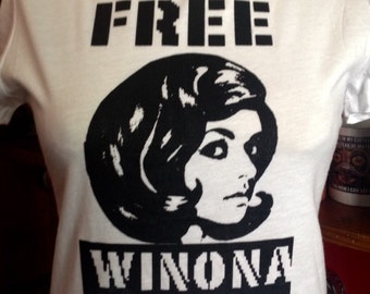 Original Free Winona Silk Screened Black T-Shirt