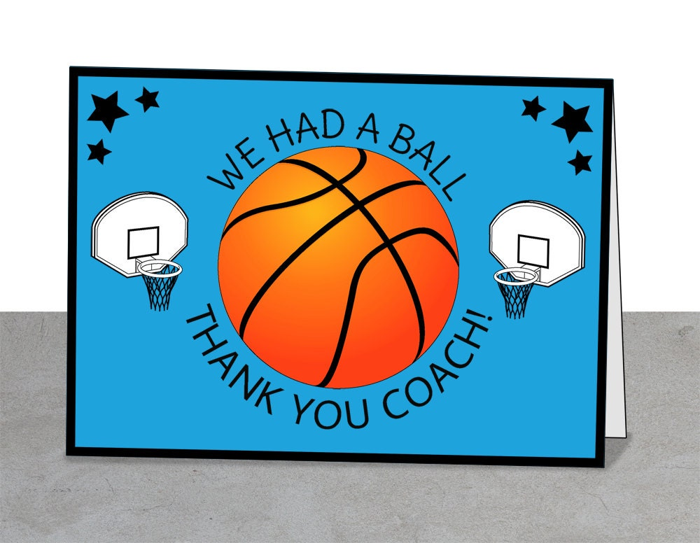 Basketball Thank You Card Coach Card Team Card by BlueOwlPrints