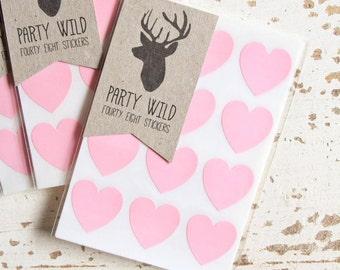 Mini Heart Stickers Pk48 - Light Pink