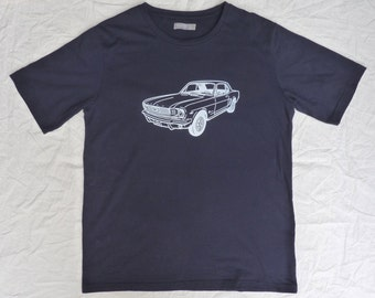 Screen Printed Navy Blue Tee Shirt with original artwork of 1966 Ford Mustang in White - Size L