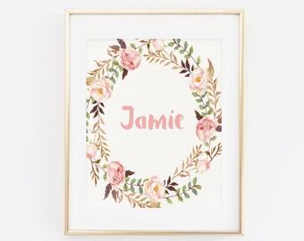 Custom Baby Name Art, Baby Name Print, Custom Baby Name Print, Nursery Room Art, Nursery Room Print, Nursery Room Decor, Floral Nursery Art