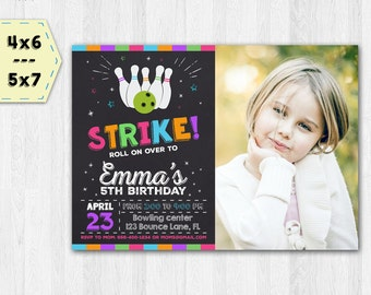 Bowling birthday invitation with photo for girls - Bowling photo invite - Bowling photo invitation - Bowling girls invitation