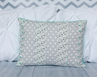 Nursery Pillow - Arrows - Polka Dots - Baby Pillow - Minky Pillow