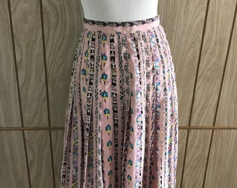 Vintage 50's silk metal zipper novelty print skirt