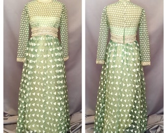 1960's Mint Green Couture Gown With Rhinestones, Sequins and Pearls