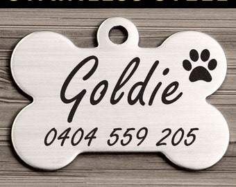 Steel Bone Brushed Steel Pet Dog ID Tag Personalized Engraved & Free Slip Ring <STEEL_BONE>