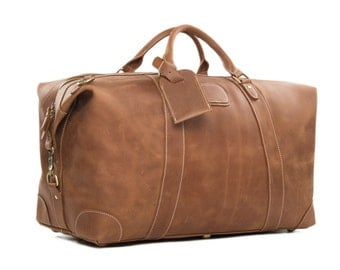 Handmade Luxury Vintage Large Tan Leather Travel Bag Duffle Bag Holdall Tote Bag Hand Luggage Weekend bag