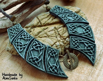 Green necklace Celtic necklace Polymer clay necklace Bib necklace Polymer clay jewelry for women Elven necklace Statement necklace