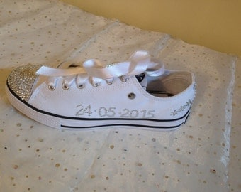 Canvas Crystal Wedding Shoes