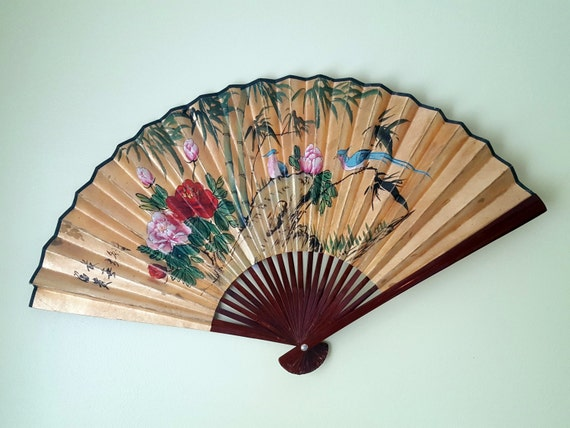 Asian Wall Fan Gold Painted with Birds and Flowers Extra Large
